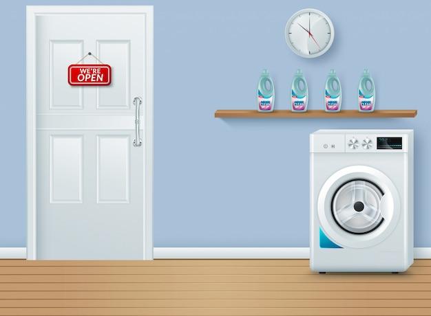 Salle de lavage sur bleu Vecteur Premium
