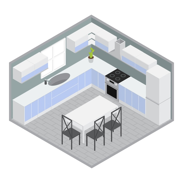 Salle à Manger Maison Isométrique Avec Armoires Bleues Blanches Et Armoires Table Chaises Murs Gris Plante Illustration Vectorielle Vecteur gratuit