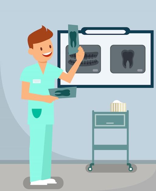 Salle de radiographie dentaire Vecteur Premium