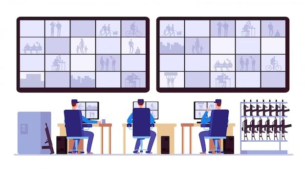 Salle De Sécurité. Surveillance Professionnelle Dans Le Centre De Contrôle Avec Des Moniteurs De Vidéosurveillance Vecteur Premium