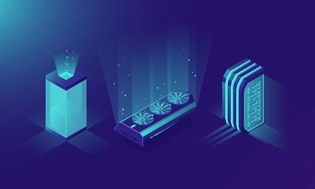 Salle des serveurs isométriques, concept de rack de serveurs Vecteur gratuit