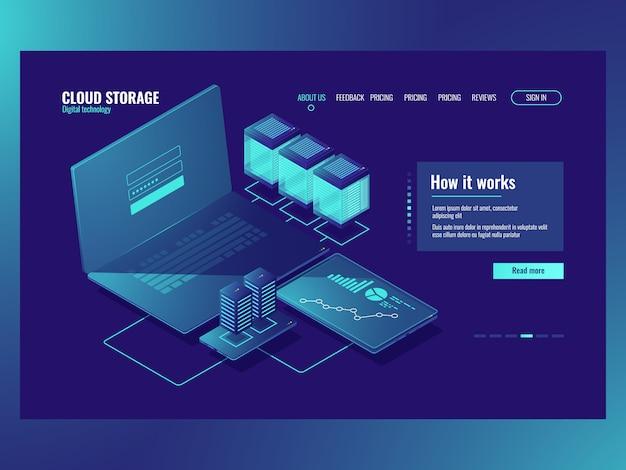 Salle des serveurs, opérations avec données, connexion réseau, technologie de stockage en nuage Vecteur gratuit