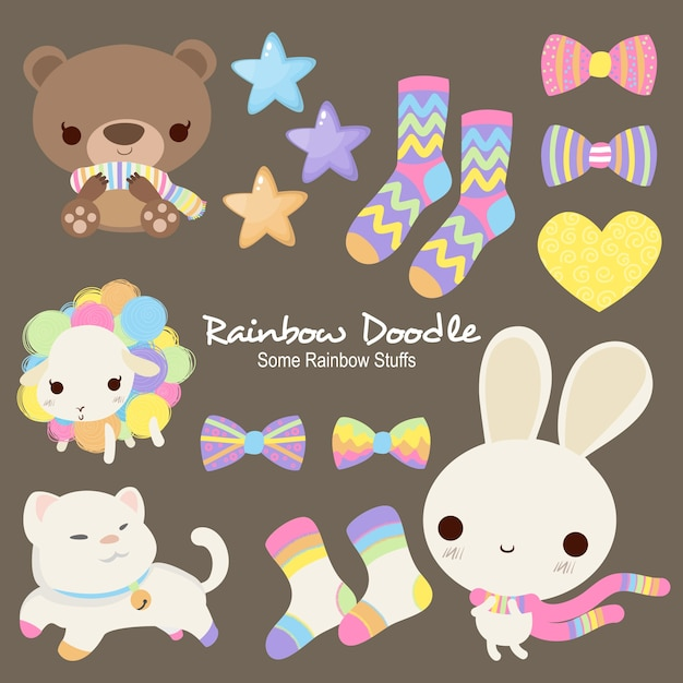Sally rainbow objects doodle Vecteur Premium