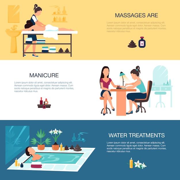 Salon de beauté bannières spa Vecteur gratuit