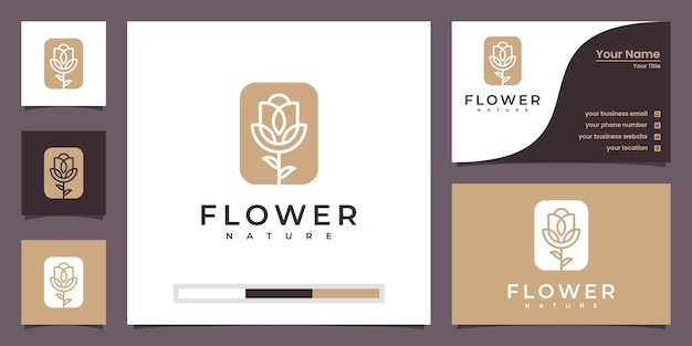 Salon De Beauté De Luxe Minimaliste élégant Fleur Rose, Mode, Soins De La Peau, Cosmétiques, Yoga Et Produits De Spa. Vecteur Premium