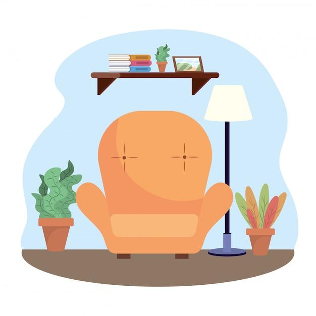 Salon avec chaise et décoration de plantes Vecteur gratuit