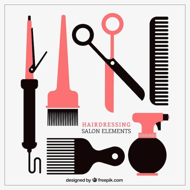 Salon de coiffure element collection Vecteur gratuit