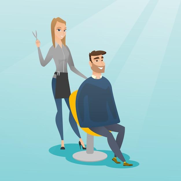 Salon de coiffure faisant la coupe de cheveux à l'homme hipster. Vecteur Premium