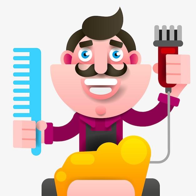 Salon de coiffure réussi dans un tablier avec des ciseaux à la main Vecteur Premium