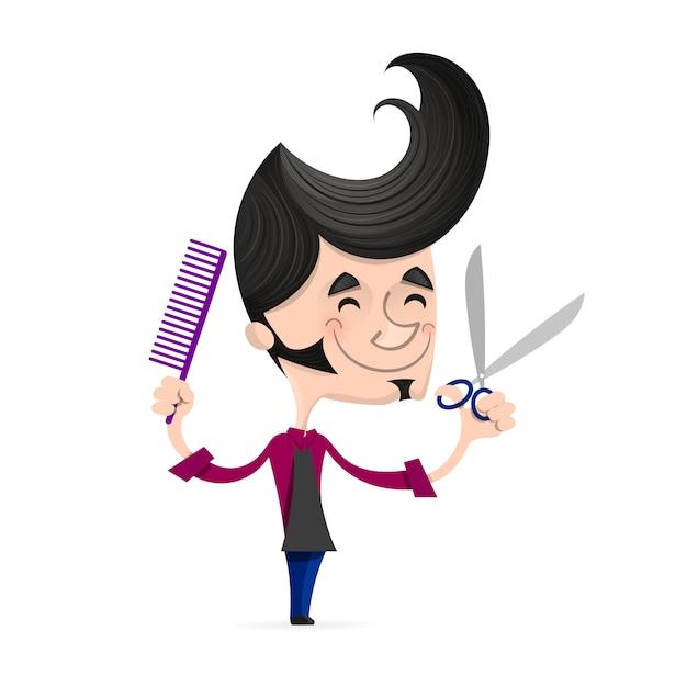 Salon de coiffure réussi Vecteur Premium
