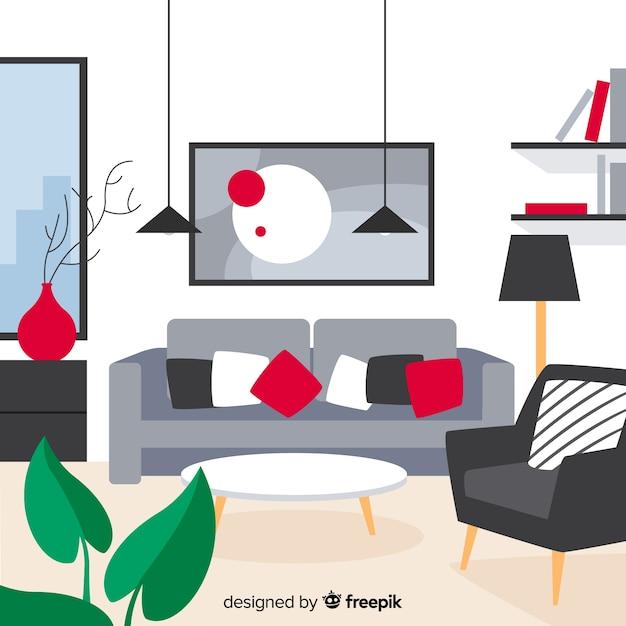 Salon confortable et moderne avec un design plat Vecteur gratuit