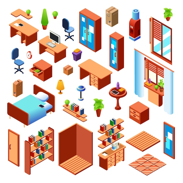 Salon domestique, chambre ou salle de travail meubles d'intérieur collection d'objets Vecteur gratuit