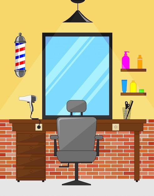 Salon intérieur du barbier Vecteur Premium