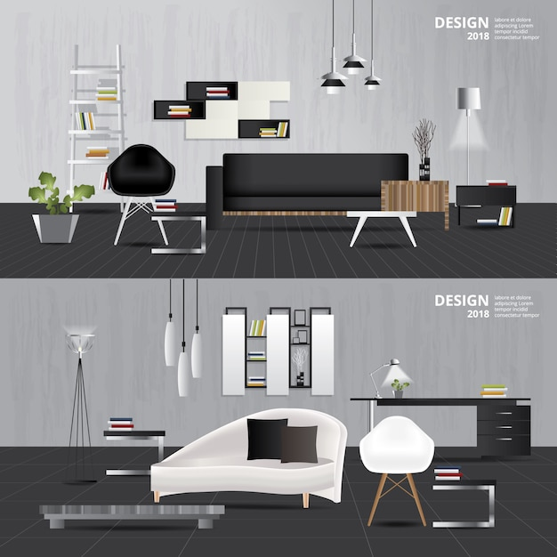 Salon intérieur avec ensemble de meubles illustration vectorielle Vecteur Premium