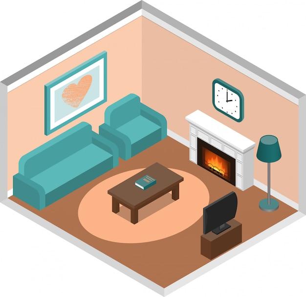 Salon Intérieur Isométrique Avec Cheminée Et Canapé. Vecteur Premium