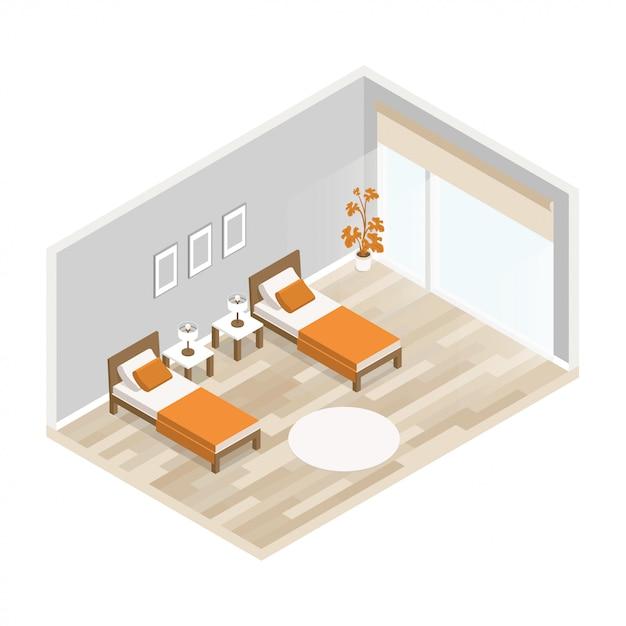 Salon intérieur de vecteur avec meubles, planchers de bois franc clairs et murs gris Vecteur Premium