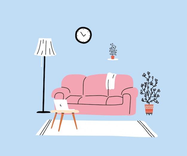 Salon Moderne Avec Canapé Vecteur Premium