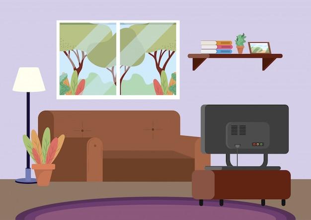 Salon De Plongée Avec Canapé Et Décoration Télé Vecteur gratuit