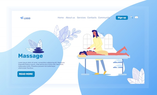 Salon spa, modèle de vecteur de page d'atterrissage resort Vecteur Premium