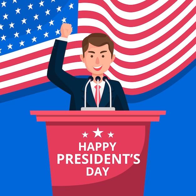 Salutation Colorée Du Jour Du Président Vecteur gratuit