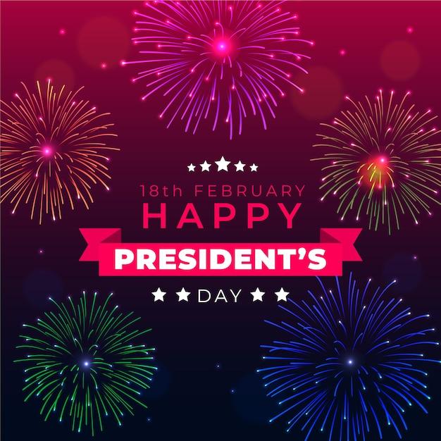 Salutation Du Jour Du Président Des Feux D'artifice Vecteur gratuit