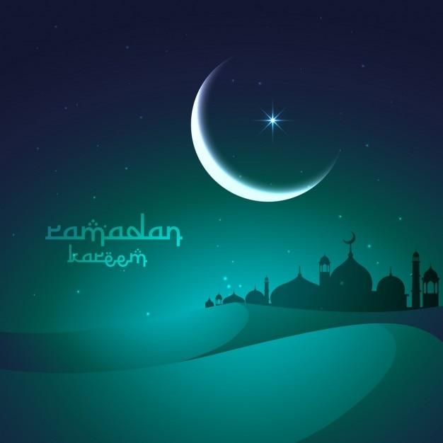 Salutation ramadan avec des dunes de sable et la mosquée Vecteur gratuit