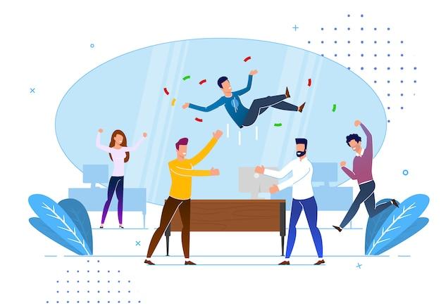 Salutations de collègues de bureau, dessin animé. Vecteur Premium