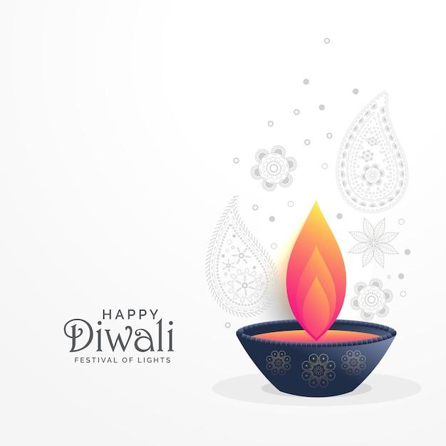 Salutations du festival diwali avec décoration diya et paisley Vecteur Premium