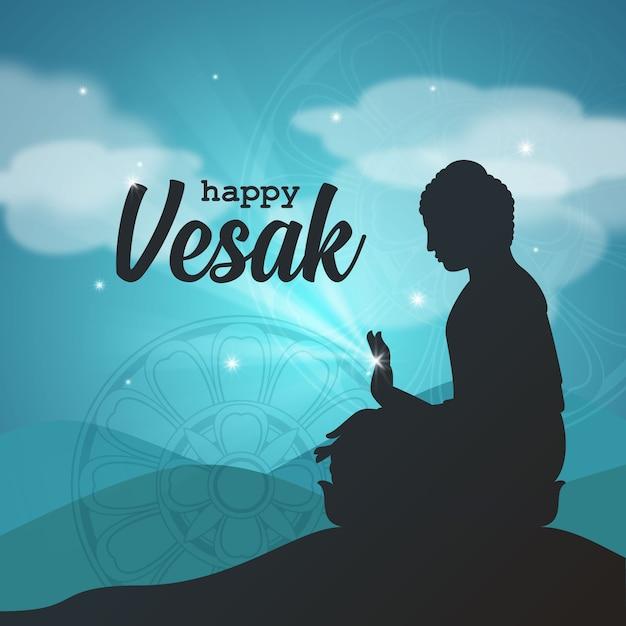 Salutations du seigneur bouddha vesak Vecteur Premium