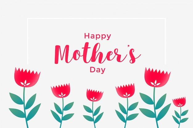 Salutations de fleurs heureux fête des mères Vecteur gratuit