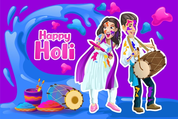 Salutations Holi Avec Joyeux Couple Indien Vecteur Premium