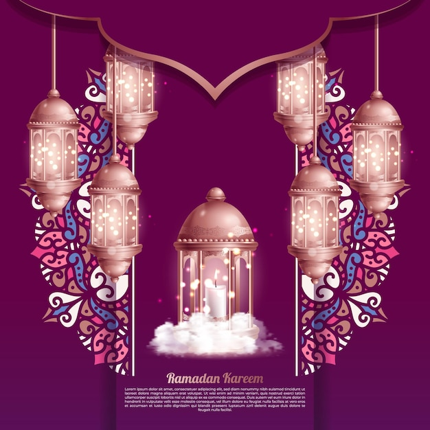 Salutations Islamiques Fond De Conception De Carte Ramadan Kareem Avec De Belles Lanternes Vecteur gratuit