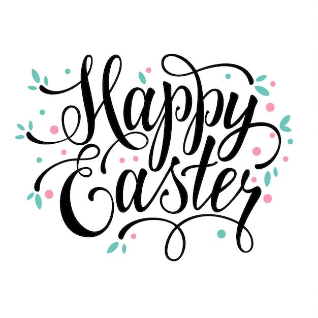 salutations joyeuses fêtes de Pâques signe calligraphique Vecteur gratuit