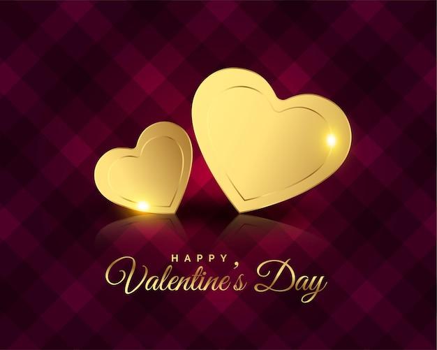 Salutations Premium Coeurs Dorés Pour La Saint-valentin Vecteur gratuit