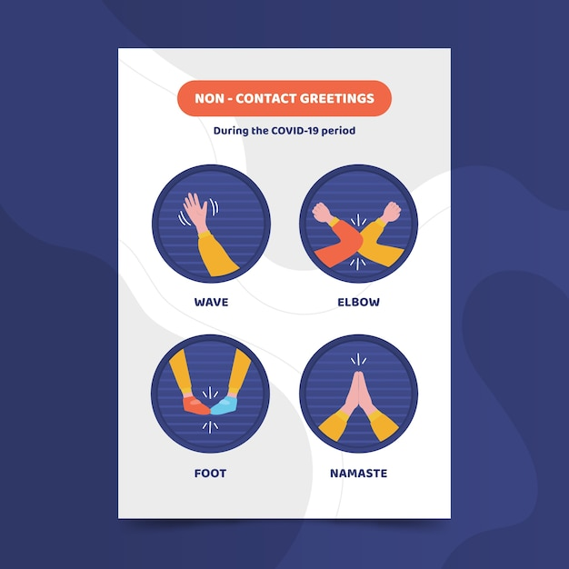 Salutations Sans Contact Au Format Affiche Vecteur gratuit