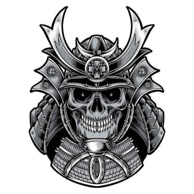 Samouraï De Crâne Avec Armure Isolé Sur Blanc Vecteur gratuit