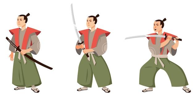 Samouraï Dans Différentes Poses. Caractère Du Japon En Style Cartoon. Vecteur Premium