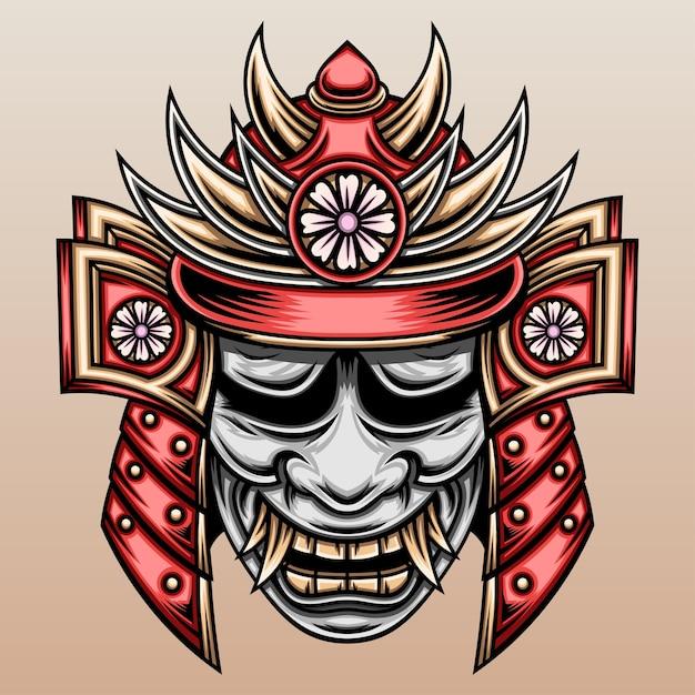 Samouraï Avec Masque De Hannya. Vecteur Premium