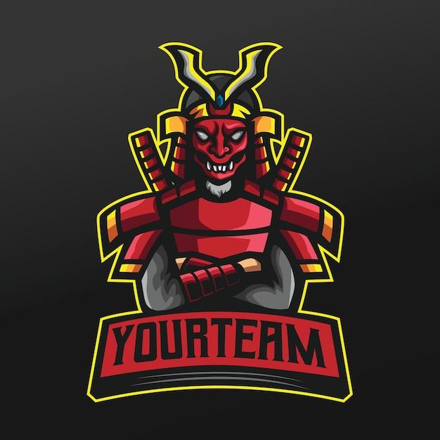 Samouraï Rouge Ninja Avec Illustration De Sport Masque Japonais Pour L'équipe De Jeu Logo Esport Vecteur Premium
