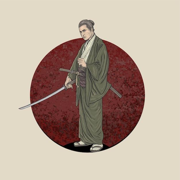 Samouraï tenant katana prêt à se battre Vecteur Premium