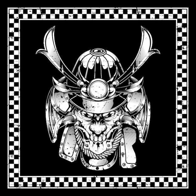 Samurai crâne Vecteur Premium