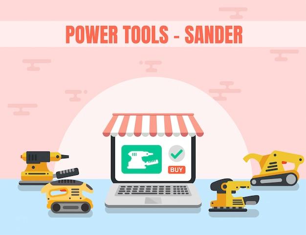 Sander power tool boutique en ligne de bois Vecteur Premium
