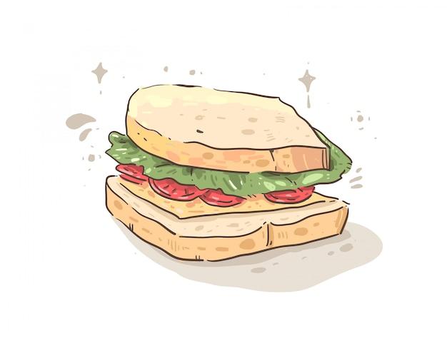 Sandwich au jambon, fromage, tomates et pain Vecteur Premium