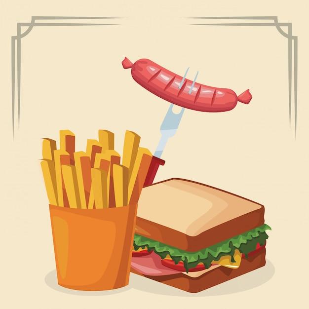 Sandwich Avec Des Frites Et Une Fourchette Avec Des Saucisses Vecteur Premium