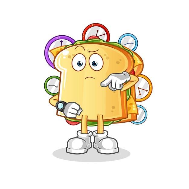 Le Sandwich Avec Mascotte De Personnage De Montre-bracelet Vecteur Premium