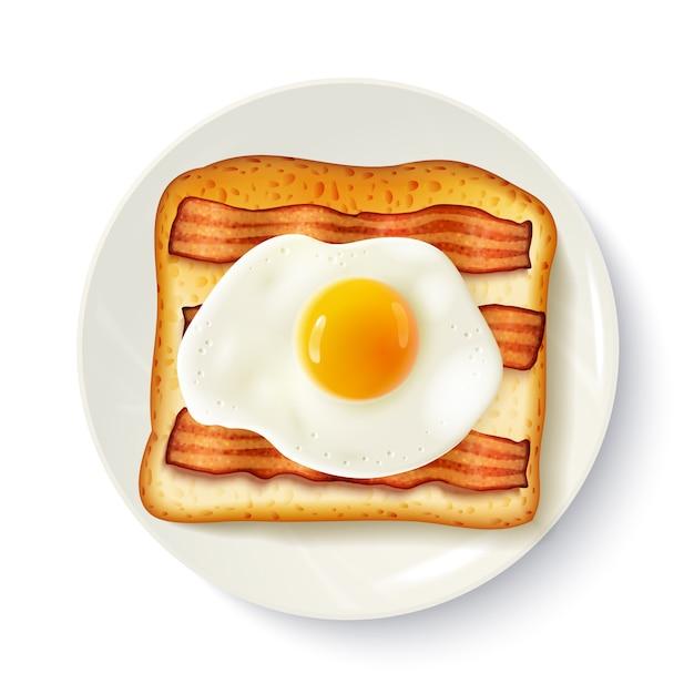 Sandwich petit-déjeuner, vue de dessus, image réaliste Vecteur gratuit