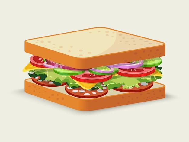 Sandwich salami Vecteur gratuit