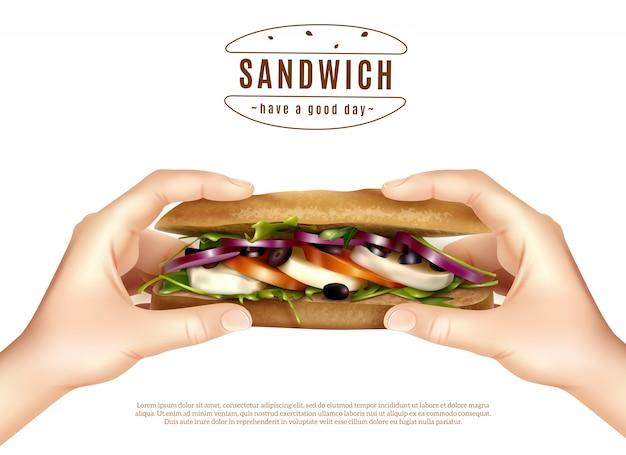 Sandwich Santé Dans Les Mains Image Réaliste Vecteur gratuit