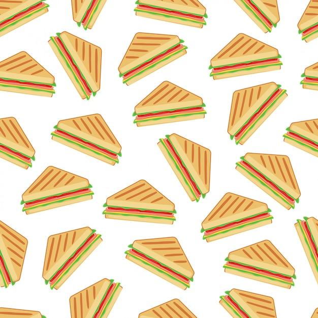 Sandwich seamless pattern background vector design Vecteur Premium