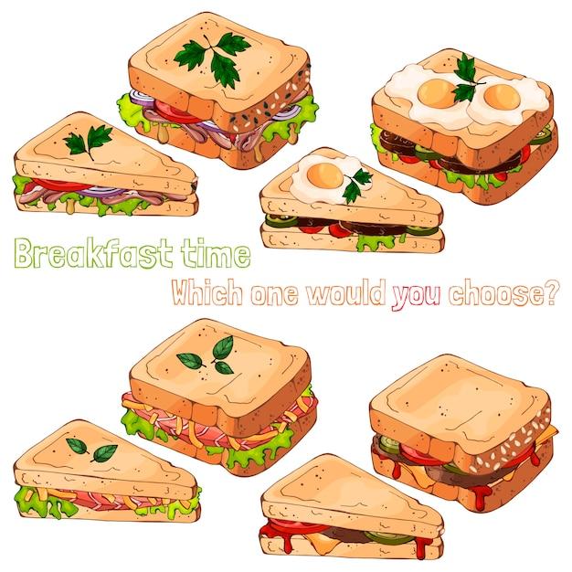 Des sandwichs. Vecteur Premium